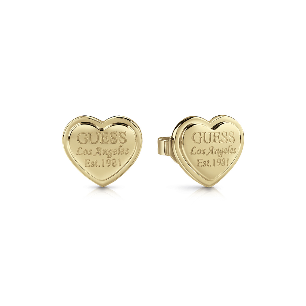 GUESS Gold Plated LA Script Heart Studs