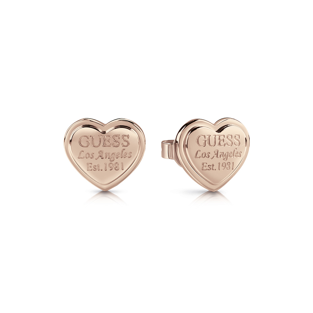 GUESS Rose Plated LA Script Heart Studs