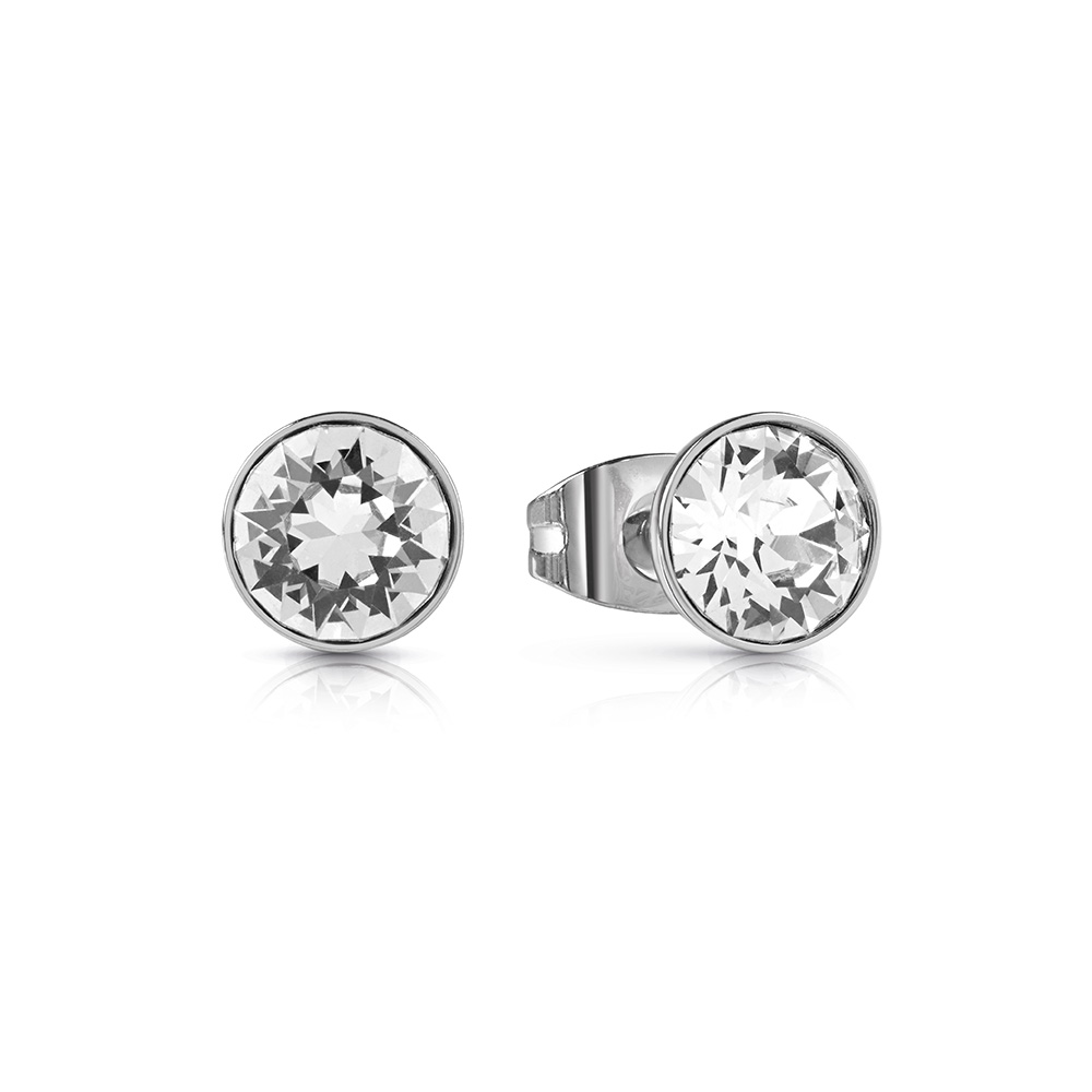 GUESS Silver Plated Round Clear Crystal Studs