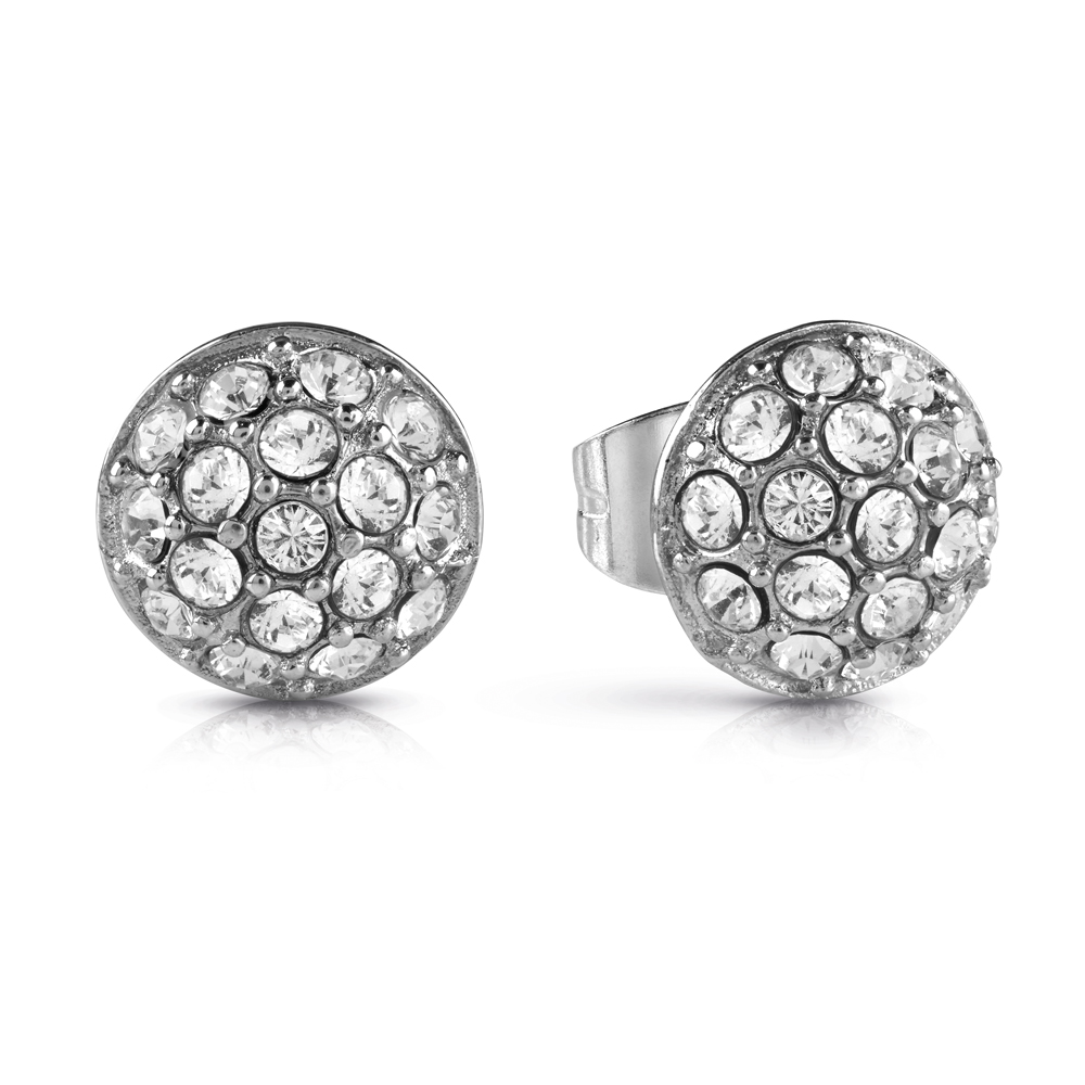 GUESS Silver Plated Small Pave Sphere Studs