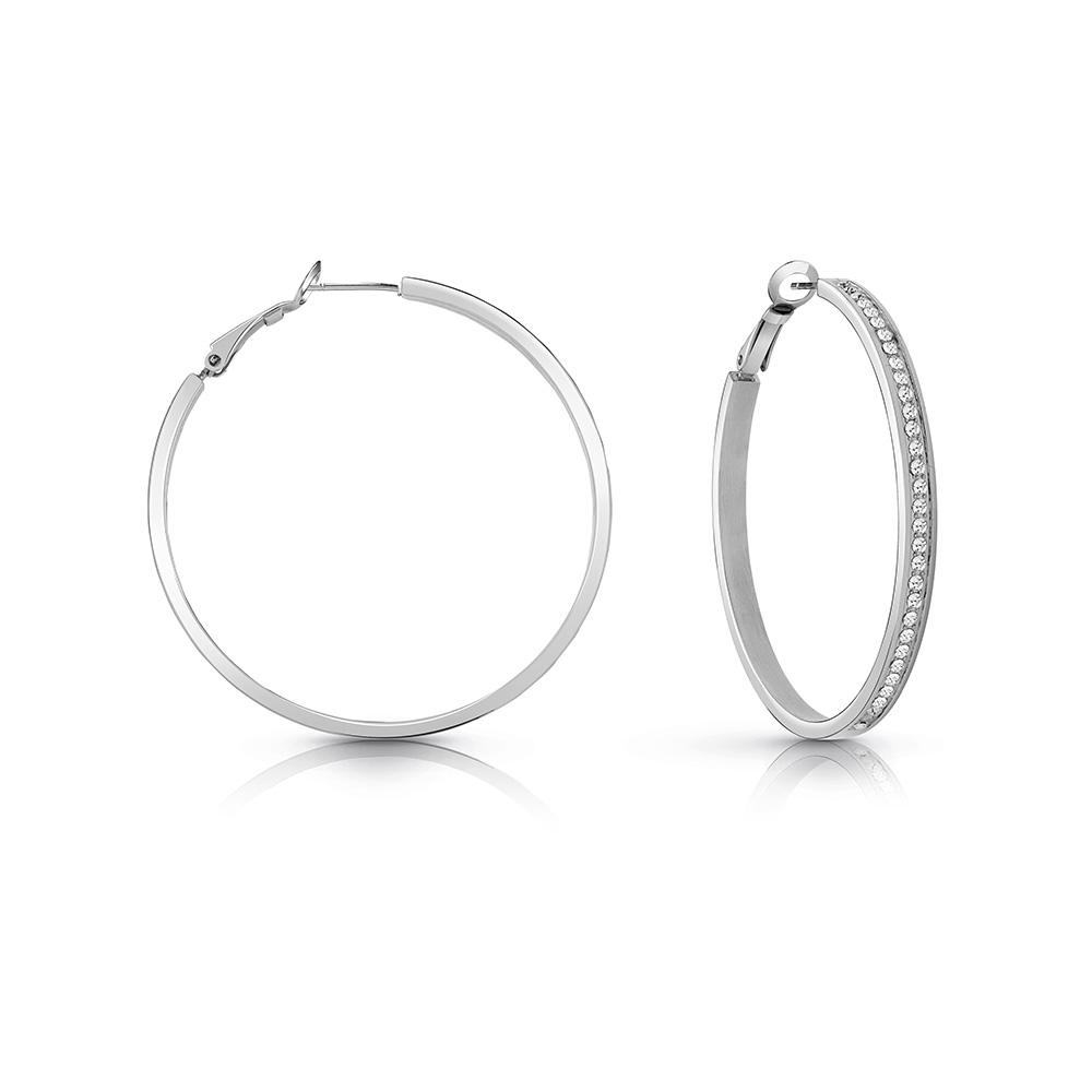 GUESS Silver Plated 50mm Front Crystal Pave Hoops
