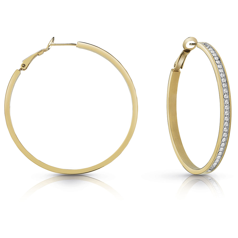 GUESS Gold Plated 50mm Front Crystal Hoops