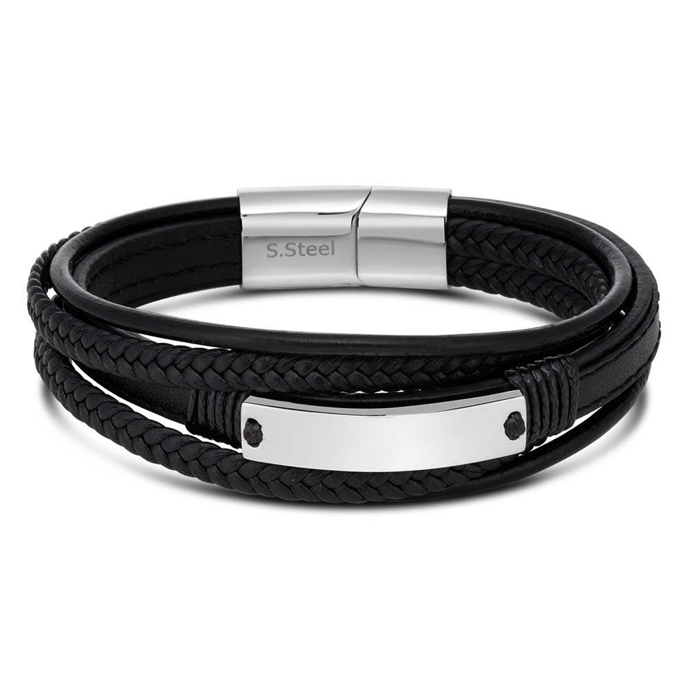 Stainless Steel and Leather Gents Magnetic Black Leather Bracelet with I.D. Plate