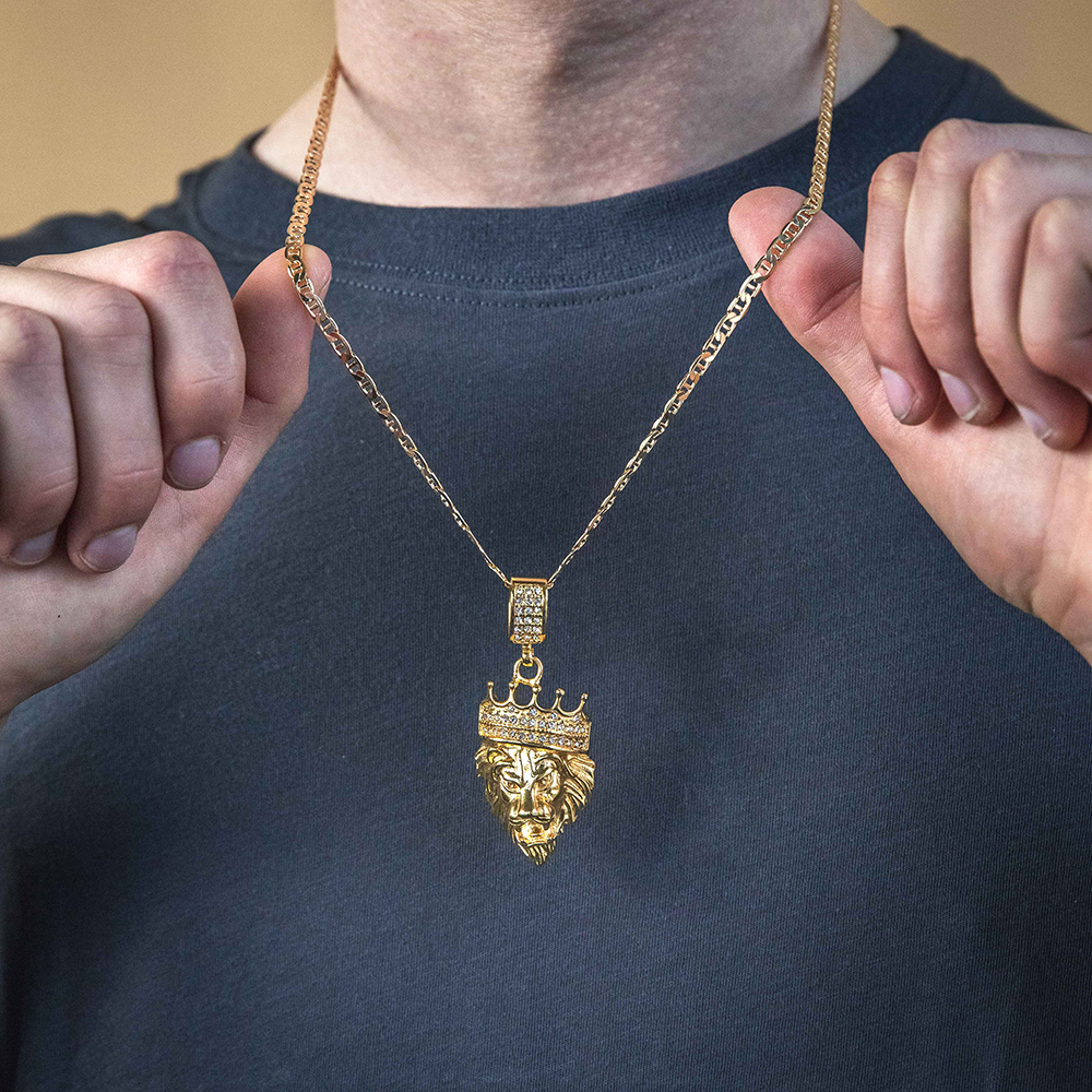 Stainless Steel and Gold Plated Crystal  Lion Head with Crown Pendant