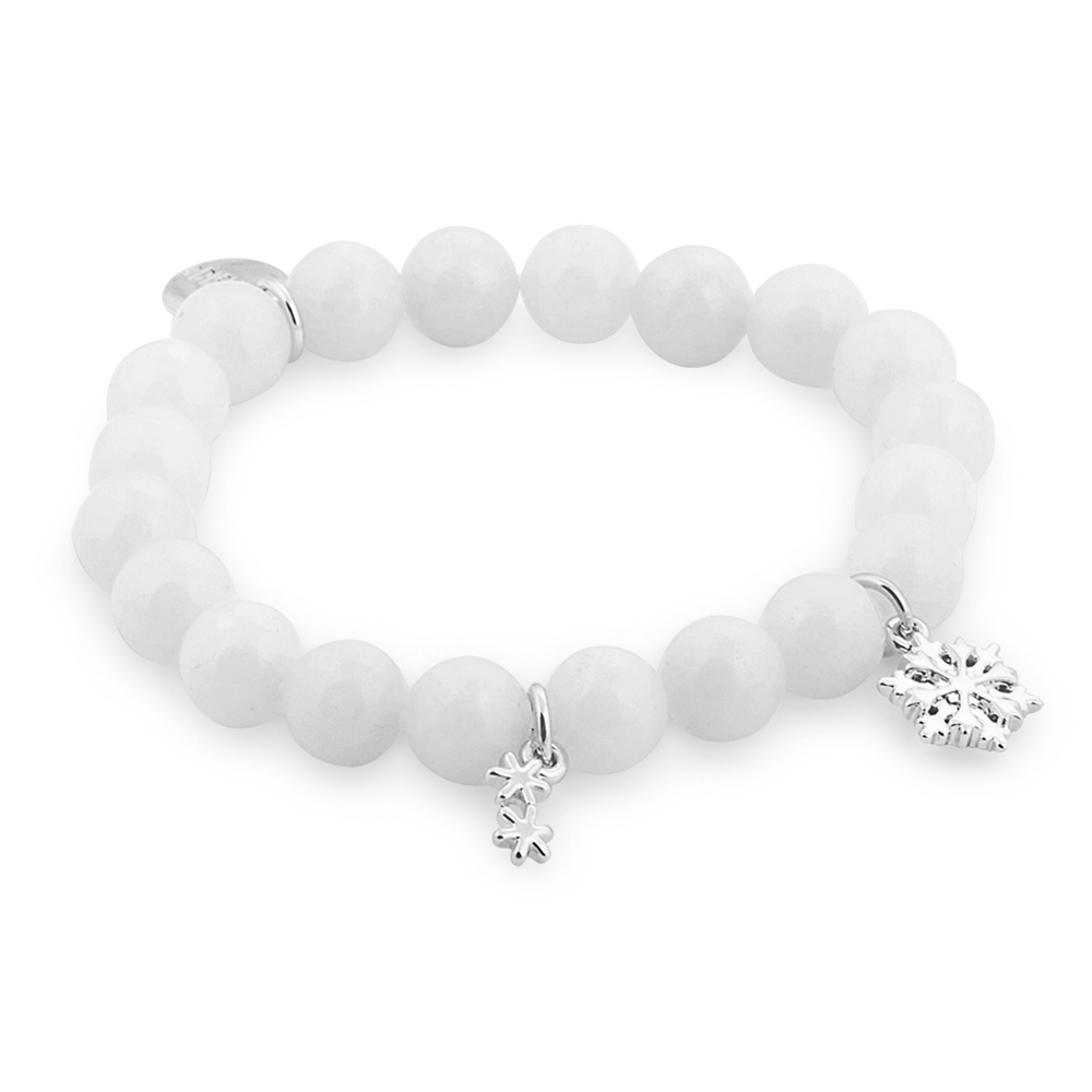DISNEY Frozen Off-White Bead Stretch Bracelet with Charms