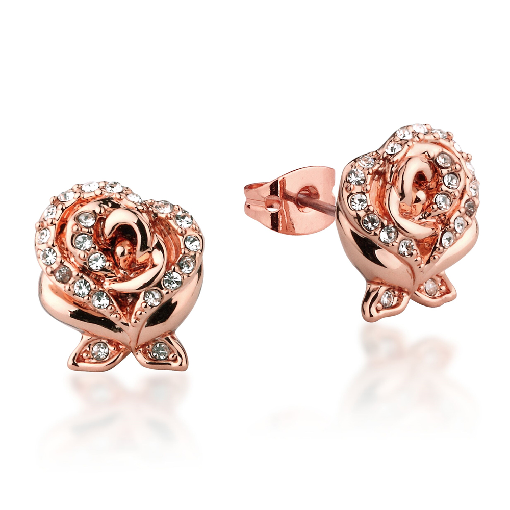 DISNEY Beauty and the Beast Enchanted Rose Stud Earrings