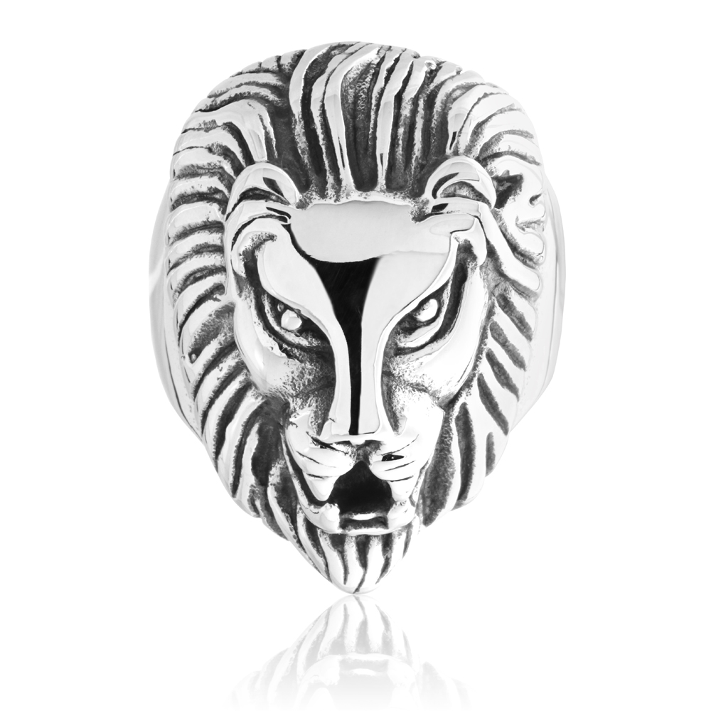 Stainless Steel Lion Head Gents Ring
