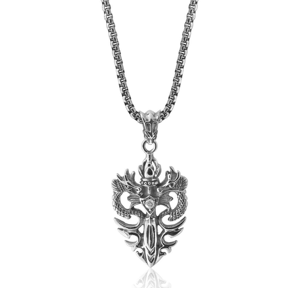 Stainless Steel Double Dragon Pendant with 50cm Chain