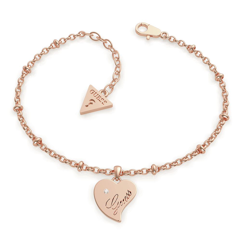 GUESS Chain and Heart Charm Bracelet