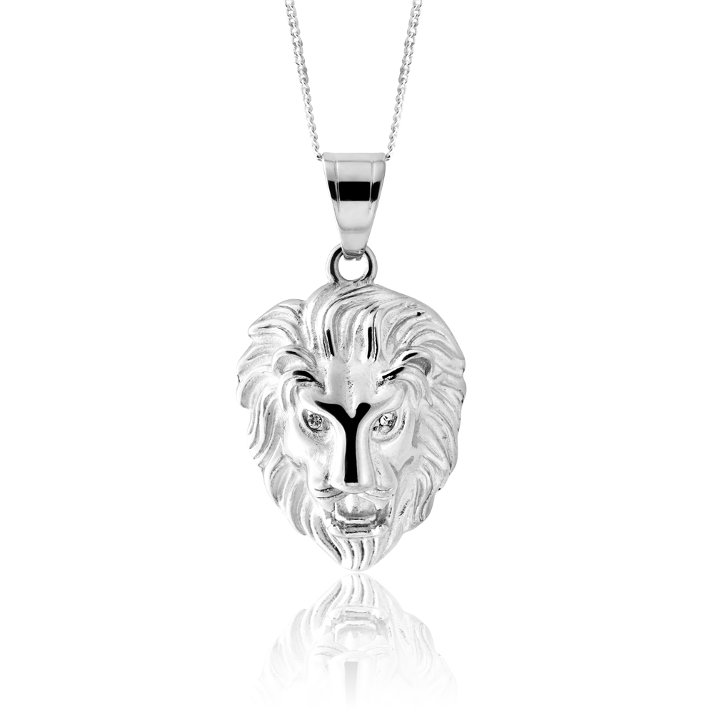 Stainless Steel Crystal Set Lion Pendant