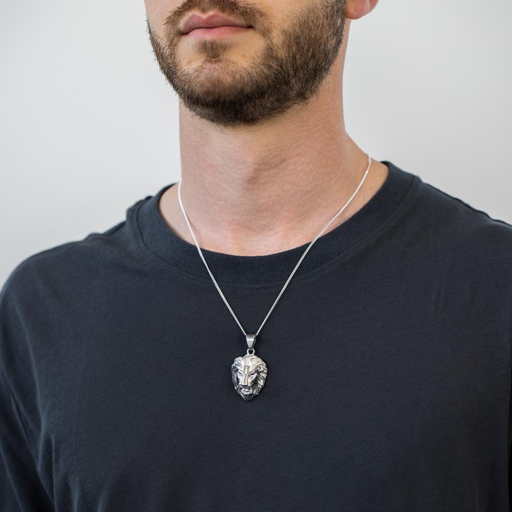 Stainless Steel Crystal Set Lion Pendant