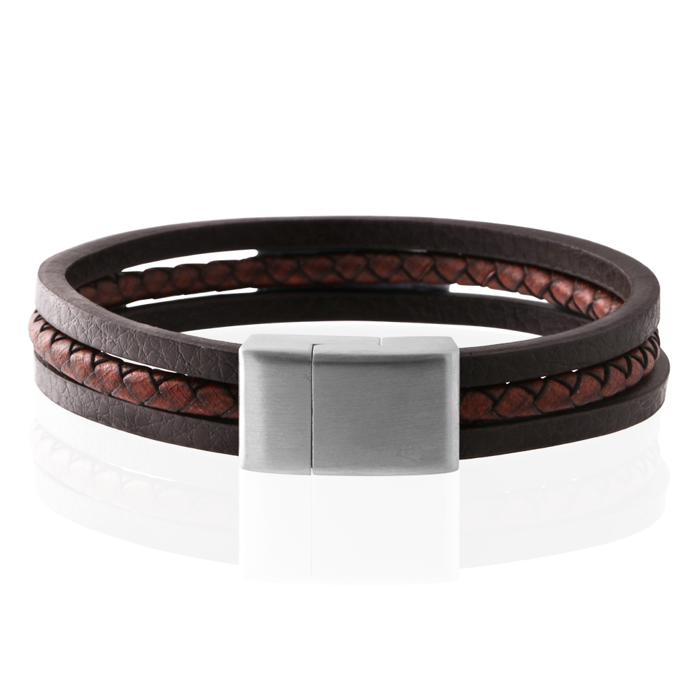 Stainless Steel 3 Band Woven Plait and Plain Strap Leather Bracelet