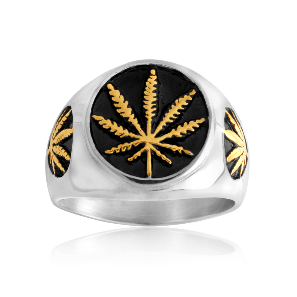 Stainless Steel and Gold Plated Hemp Leaf Ring  *NO RESIZE*
