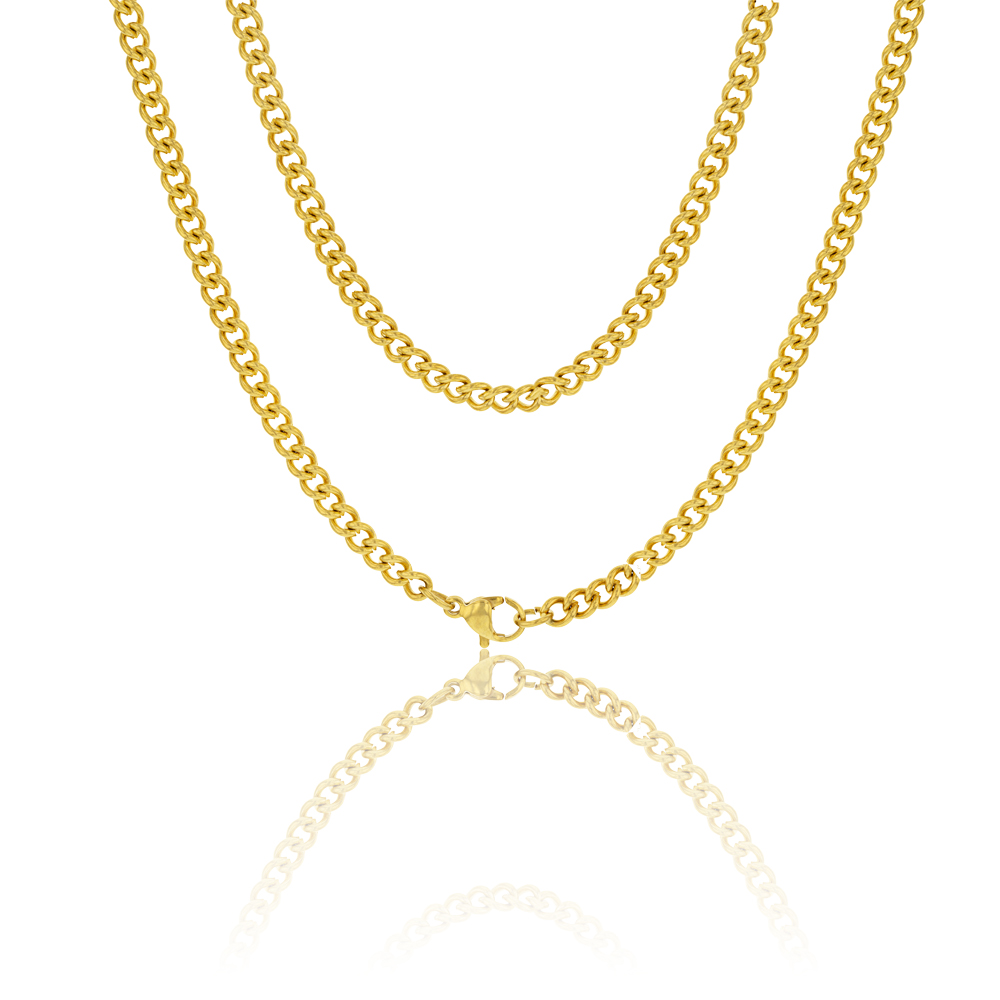 Stainless Steel Gold Plated 55cm Curb Chain