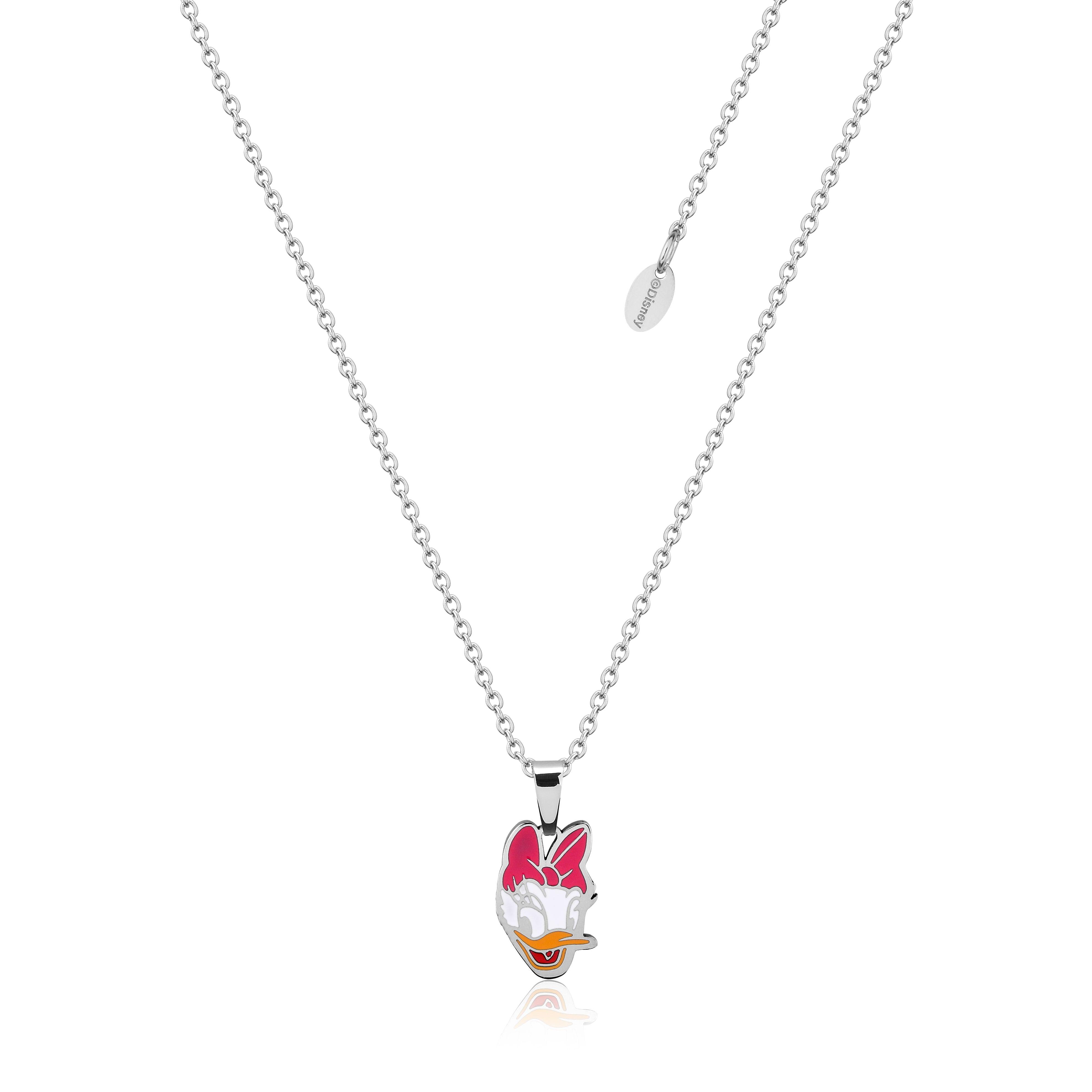 DISNEY Stainless Steel 47cm Animated Daisy Duck Pendant on Chain
