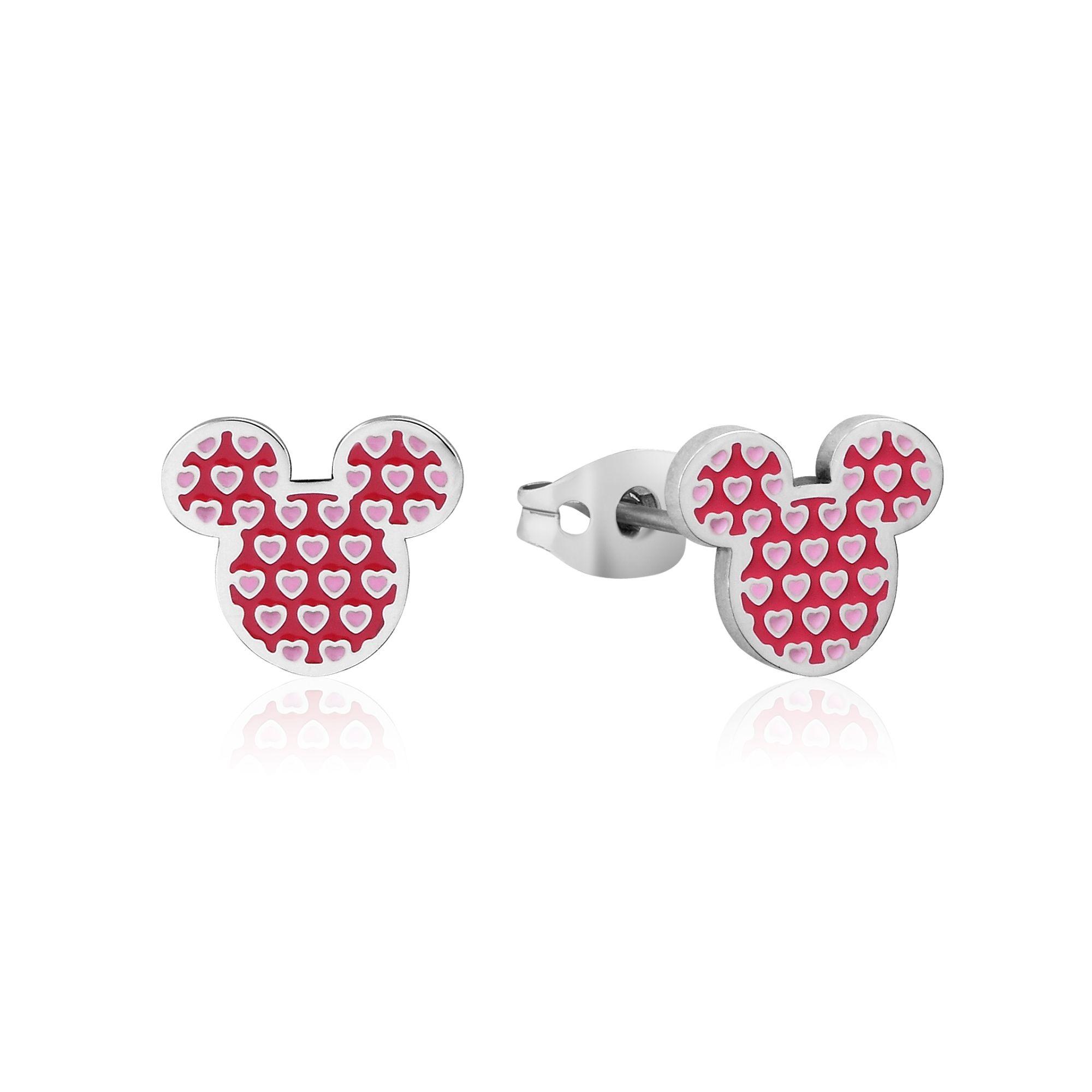 DISNEY Stainless Steel 11mm Minnie Mouse Pink Heart Stud Earrings