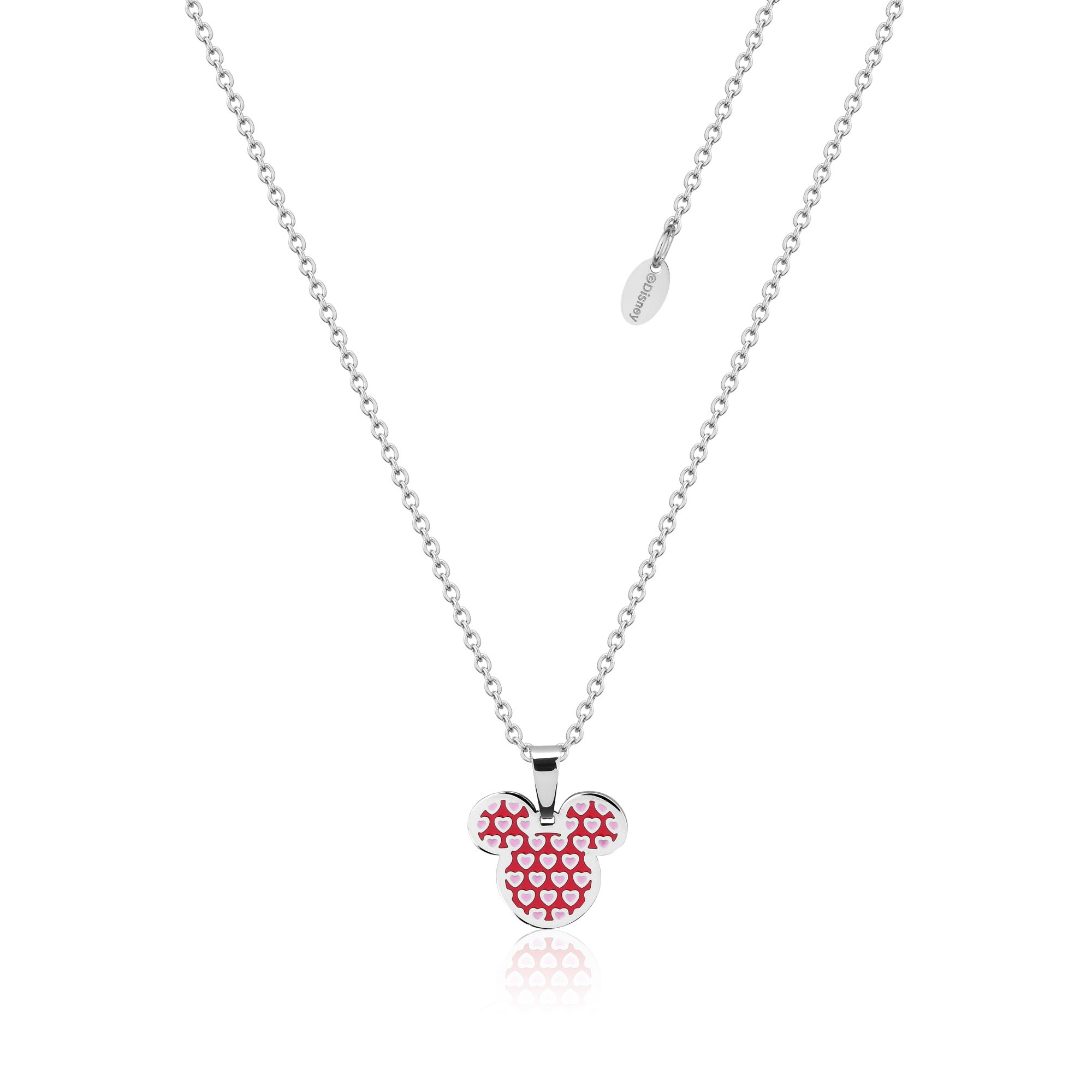 DISNEY Stainless Steel 47cm Minnie Mouse Pink Heart Pendant on Chain