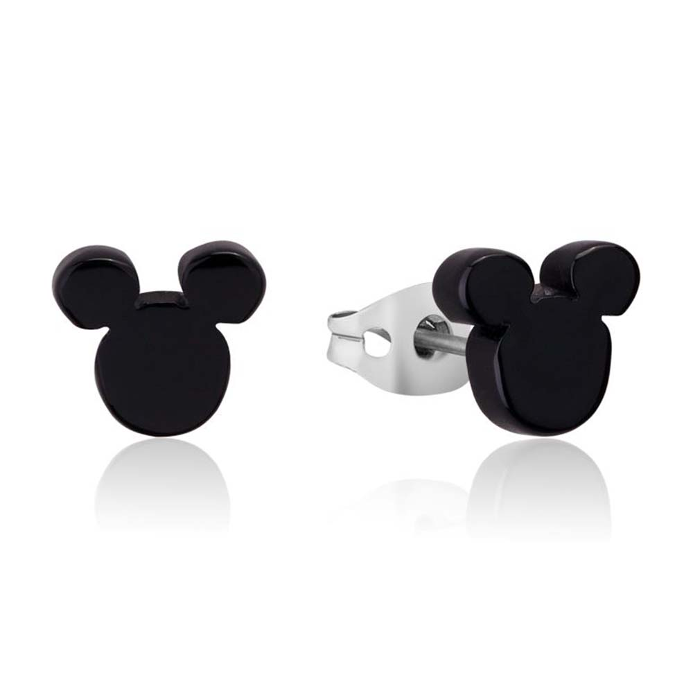 DISNEY Stainless Steel 9mm Mickey Mouse Black Stud Earrings