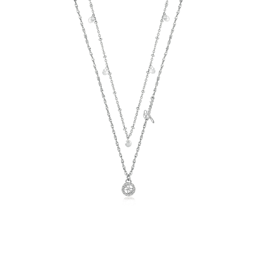 """GUESS 16-18"""" 4G & Crstl Clear Double Chain SST"""