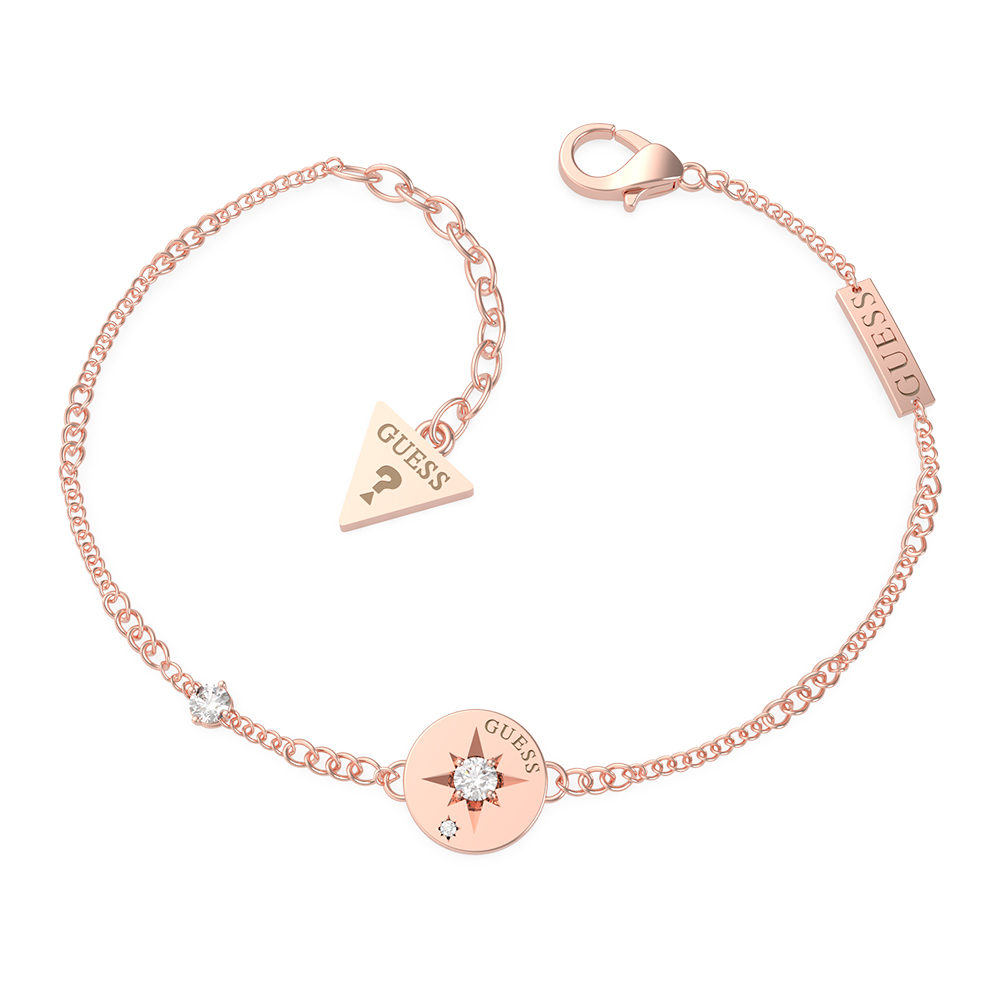 GUESS Compass Coin Crystal Bracelet SST+RGP