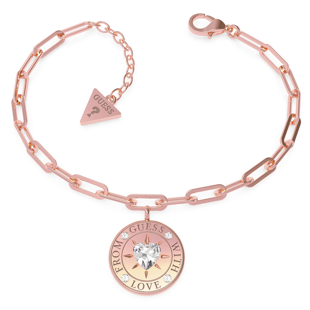 GUESS Rose Gold Plated Stainless Steel Single Chain 17mm Coin Bracelet
