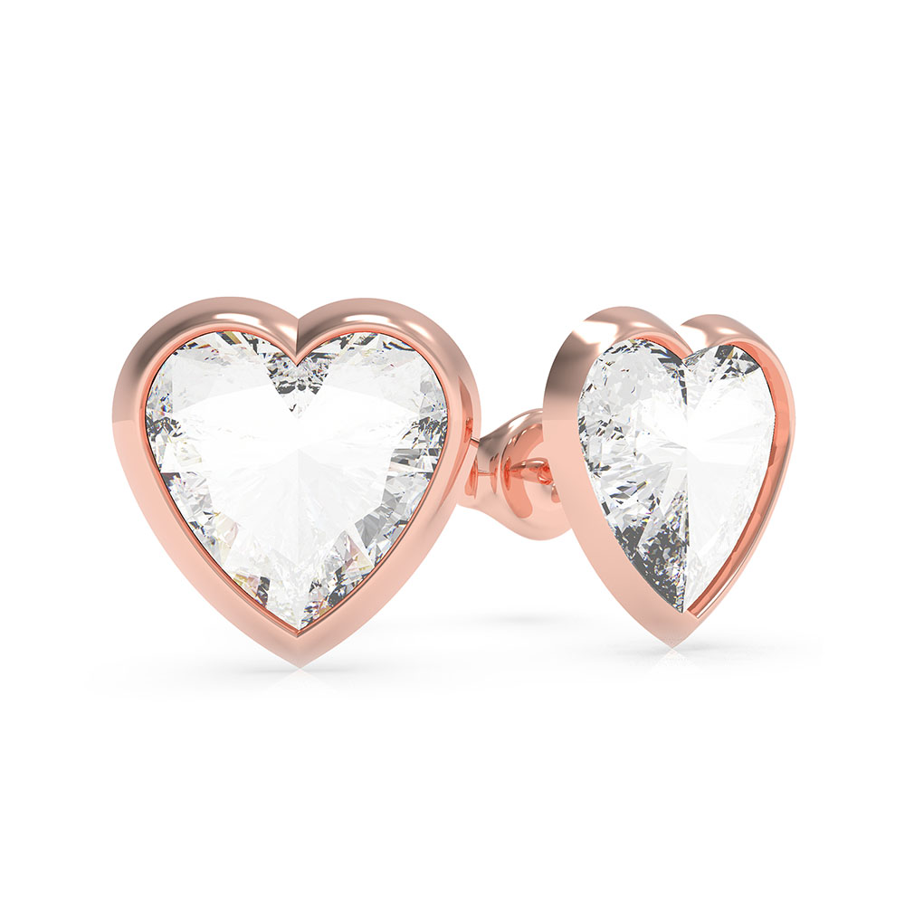 GUESS Rose Gold Plated Sterling Silver Crystal Heart Stud Earrings