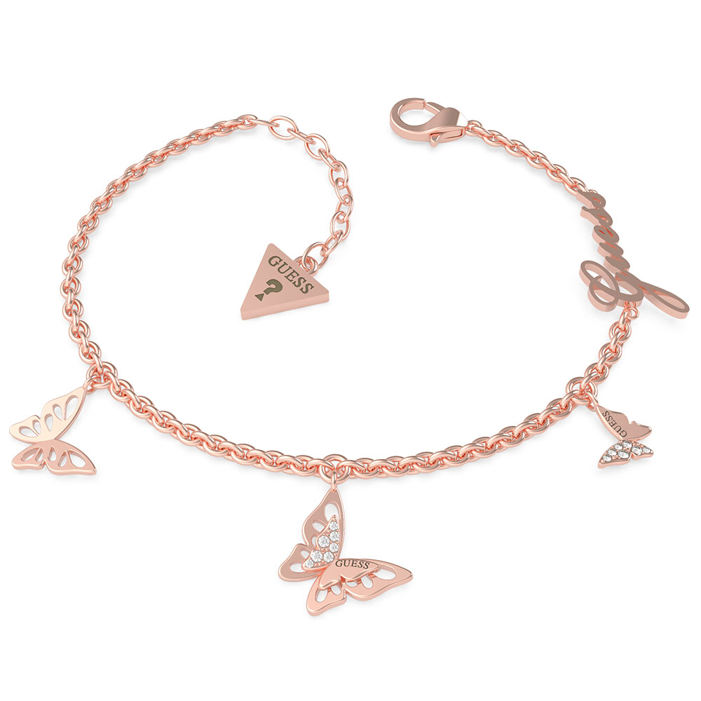 GUESS Rose Gold Plated Stainless Steel Small Chain & Butterflies Bracelet