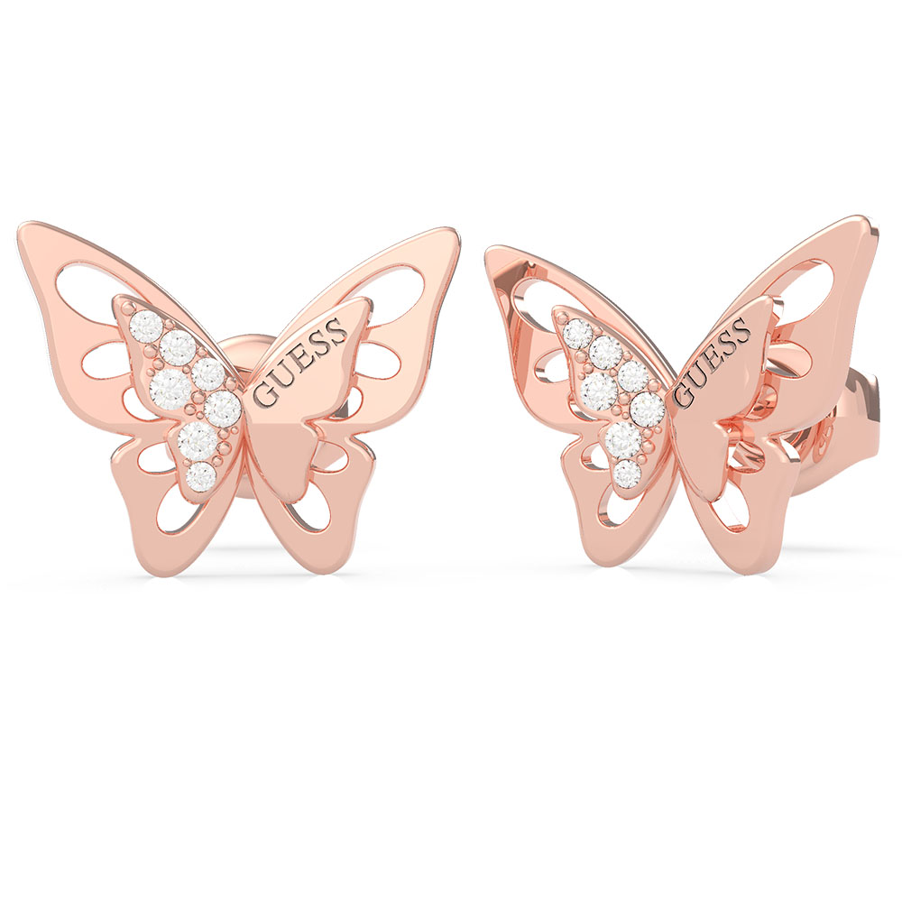 GUESS Rose Gold Plated Overlapped Butterfly Stud Earrings