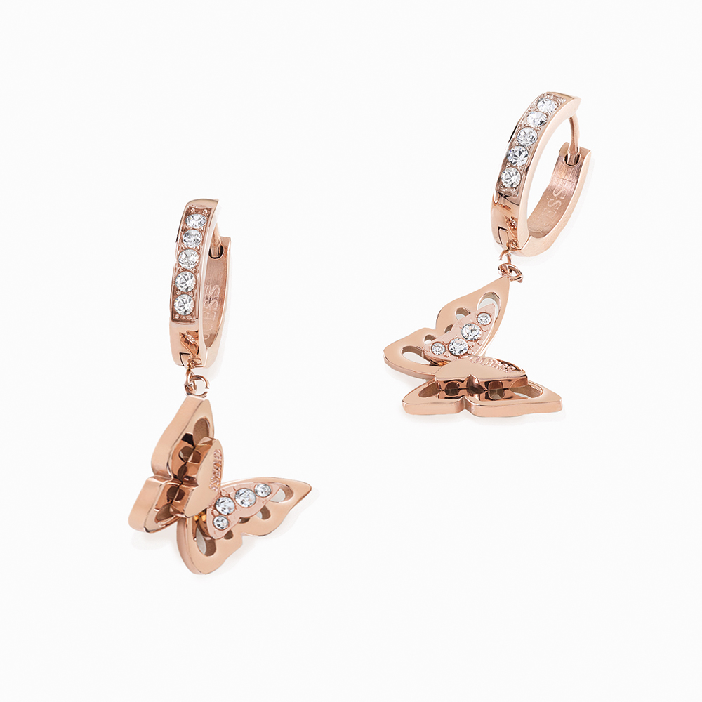 GUESS Rose Gold Plated Stainless Steel Butterfly Huggies Earrings
