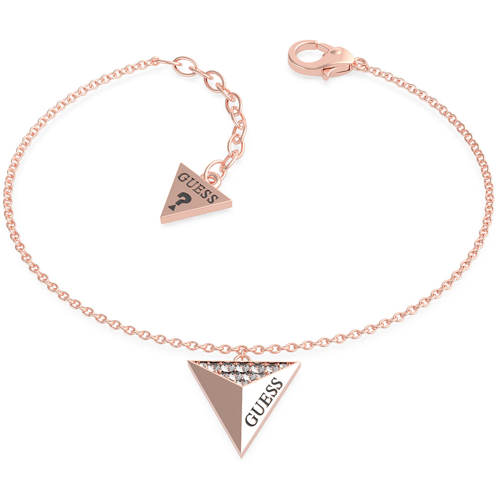 GUESS Rose Gold Plated Triangle Single Charm Bracelet