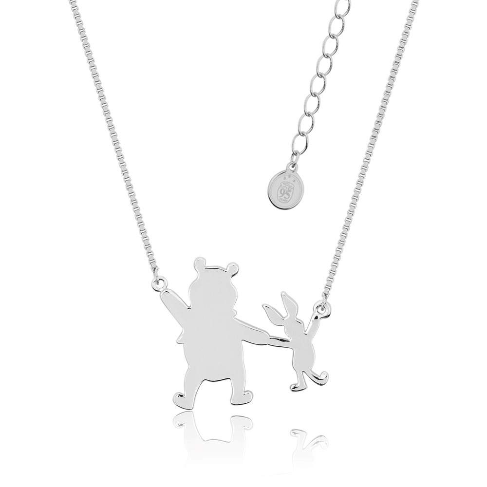 Disney White Gold Plated Winnie The Pooh+Piglet Pendant On 45+7cm Chain