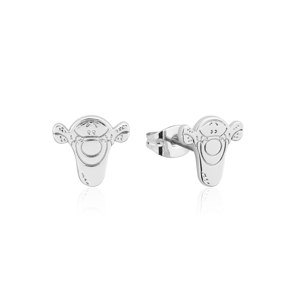 Disney White Gold Plated Winnie The Pooh Tigger 10mm Stud Earrings