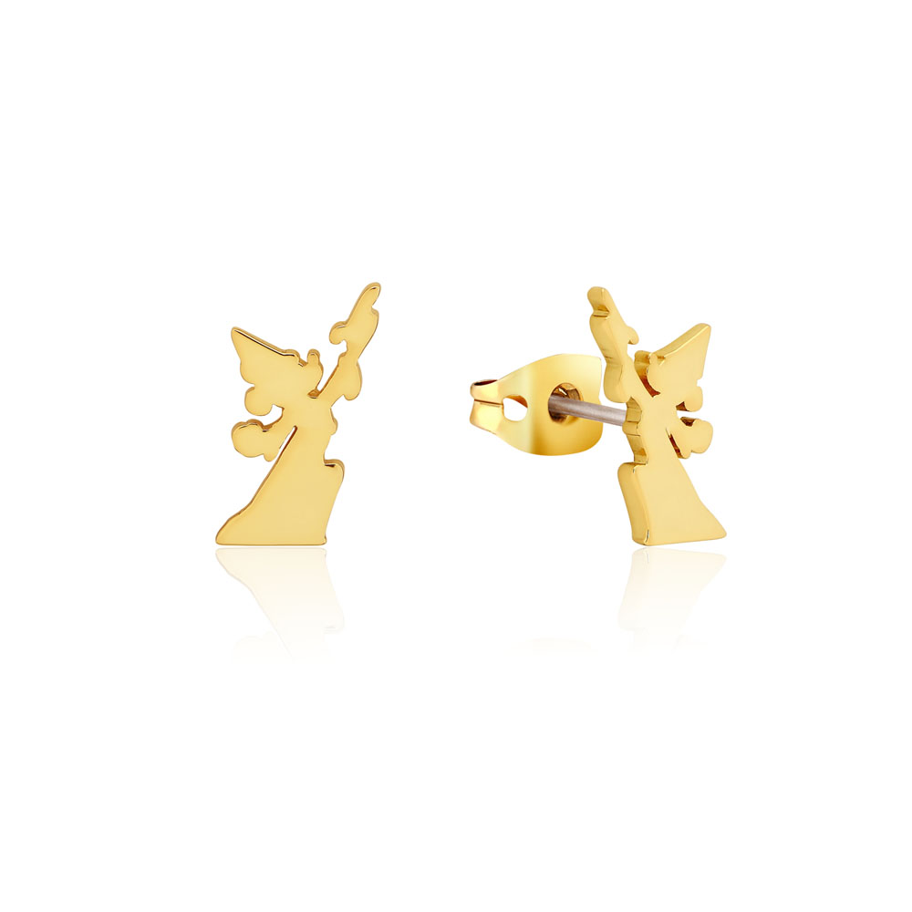 Disney Fantasia Gold Plated Sorcerer's Mickey Reach For The Stars 15mm Stud Earrings