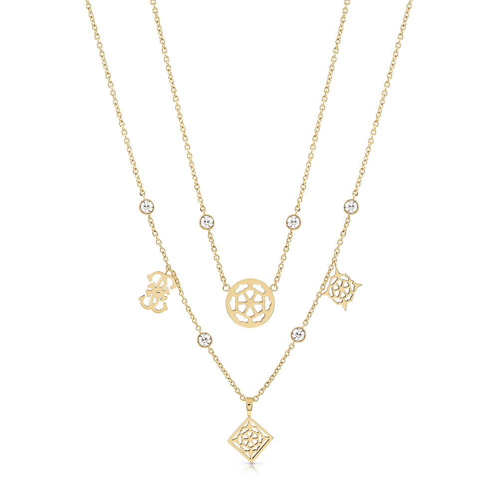 """Guess Gold Plated Stainless Steel 16-18"""" Double Chain Peony Chain"""