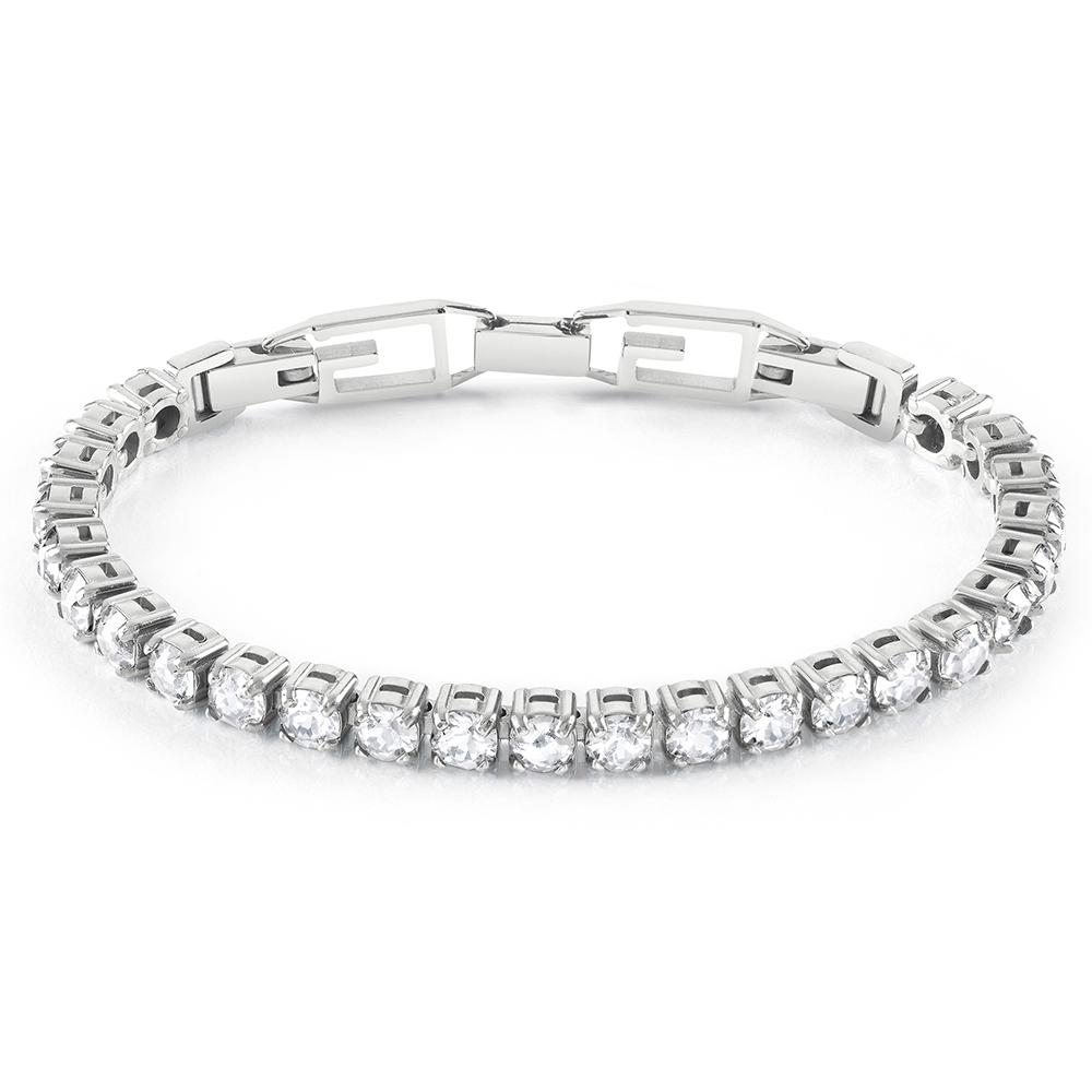 Guess Stainless Steel Tennis Clear CZ G Buckle Bracelet