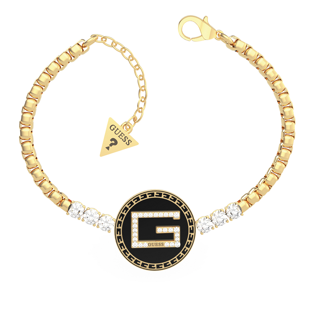 Guess Gold Plated Stainless Steel 20mm Black G Coin & Crystals Bracelet