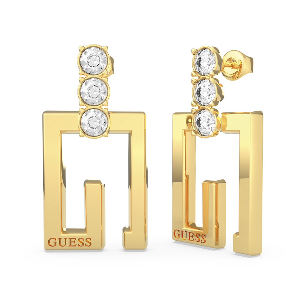 Guess Gold Plated Stainless Steel 36mm G Squared & Crystal Earrings