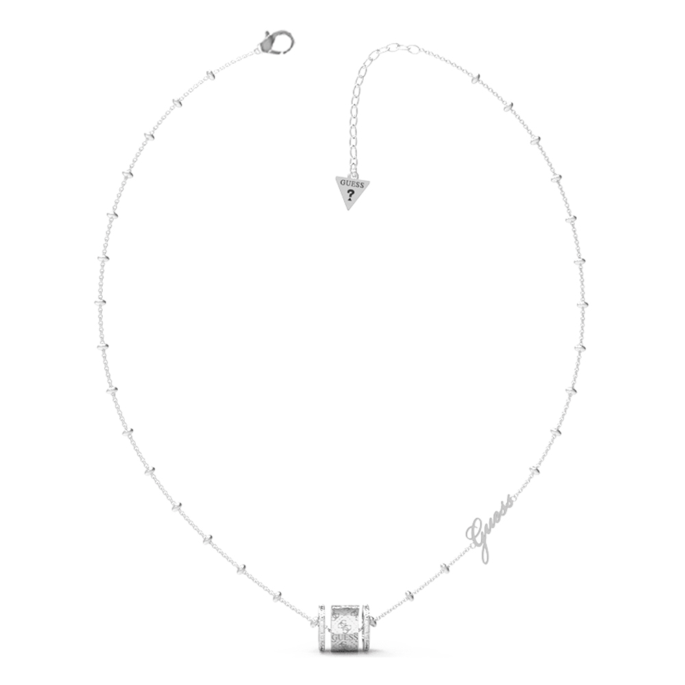 """Guess Stainless Steel 16-18"""" 4G Crystals Sides Band Chain"""