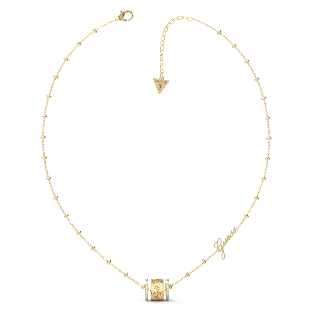 """Guess Gold Plated Stainless Steel 16-18"""" 4G Crystals Sides Chain"""